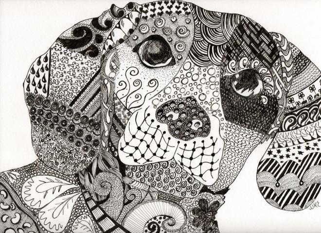 Coloriage et dessins gratuits Art Thérapie Chien à imprimer