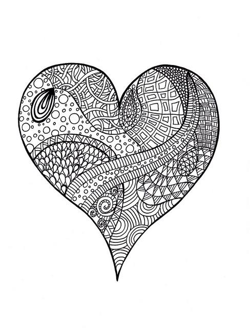 Coloriage et dessins gratuits Art Thérapie Coeur à imprimer