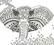 Coloriage Art Thérapie Éléphant