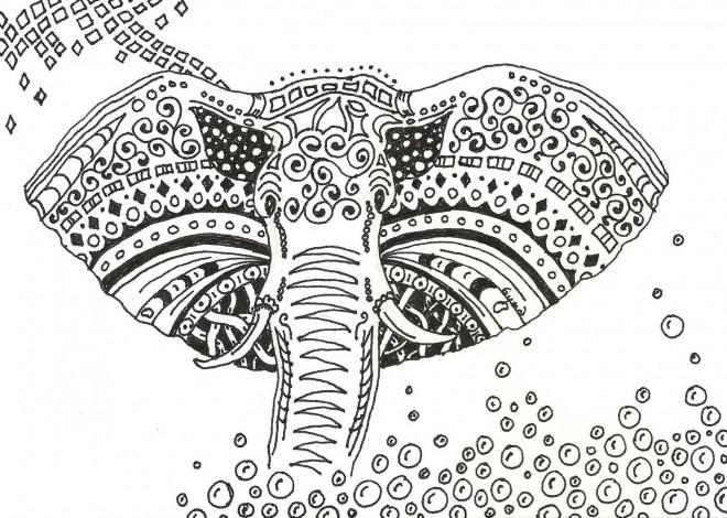 Coloriage et dessins gratuits Art Thérapie Éléphant à imprimer