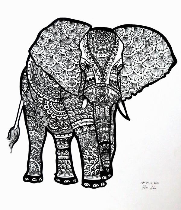 Coloriage et dessins gratuits Art Thérapie Éléphant d' Afrique à imprimer