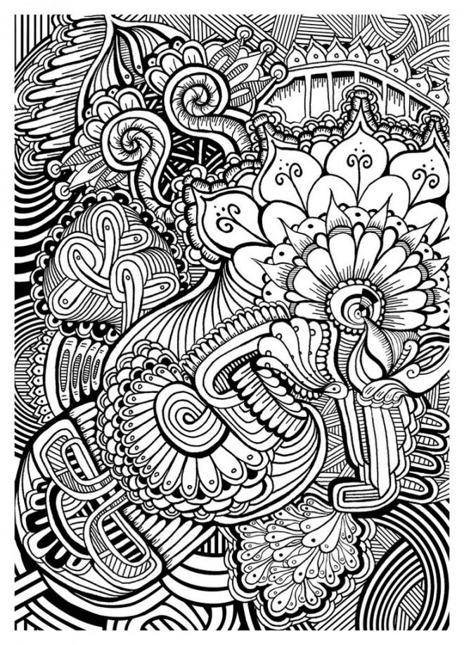 Coloriage et dessins gratuits Art Thérapie en noir et blanc à imprimer