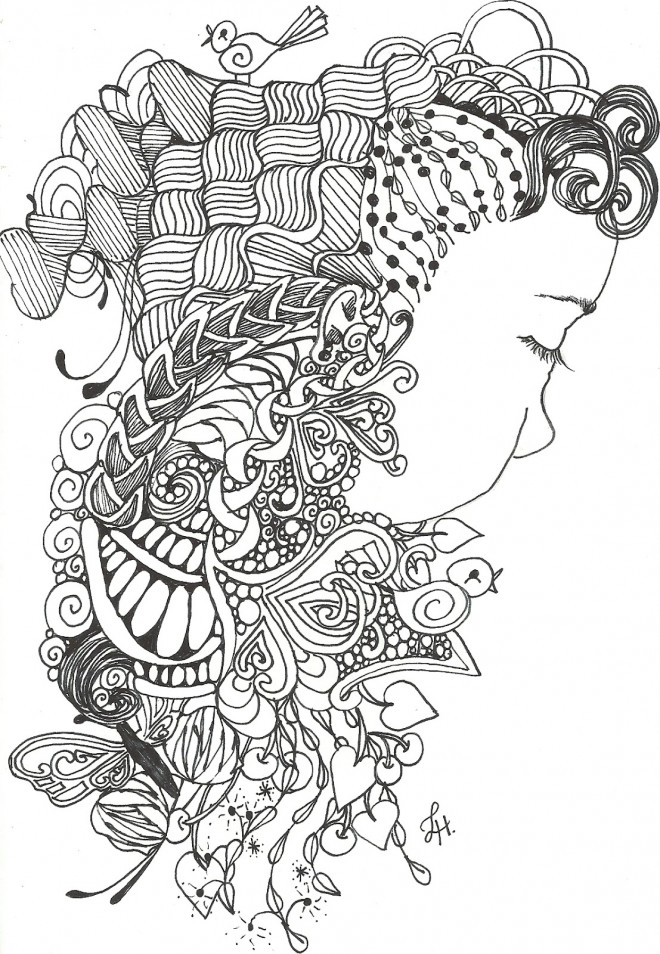 Coloriage Art Therapie Femme Dessin Gratuit A Imprimer
