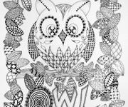 Coloriage et dessins gratuit Art Thérapie Hibou à imprimer