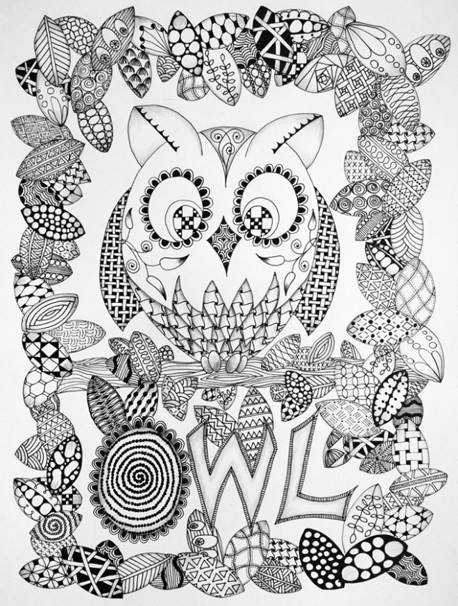 Coloriage art th rapie hibou dessin gratuit imprimer - Coloriage art therapie a imprimer ...