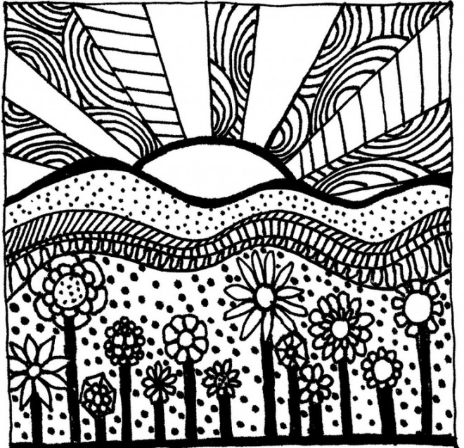 Coloriage et dessins gratuits Art Thérapie Le coucher du soleil à imprimer