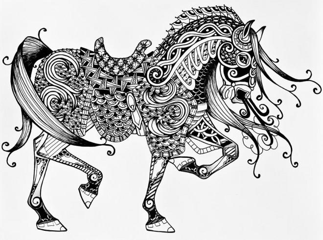 Coloriage et dessins gratuits Cheval Artistique à découper à imprimer