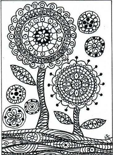 Coloriage et dessins gratuits Fleur Art Anti-Stress à imprimer