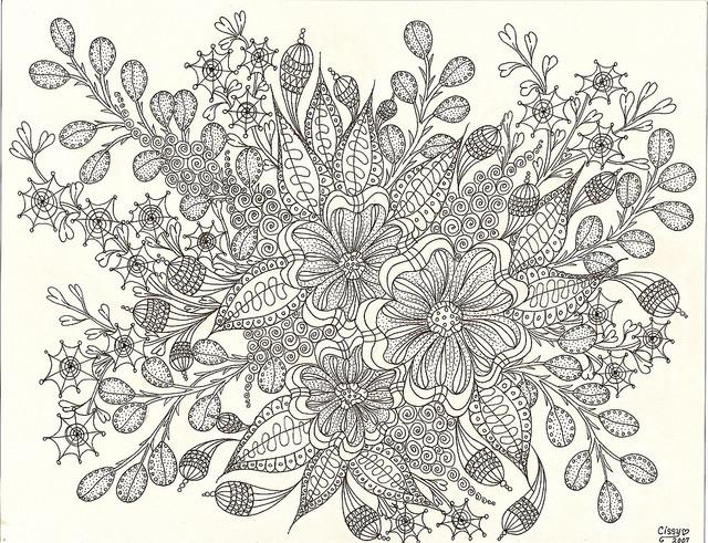 Coloriage et dessins gratuits Peinture Fleur relaxant à imprimer