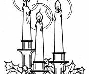 Coloriage et dessins gratuit 3 bougies illuminées à imprimer