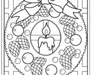 Coloriage bougie couronne noel