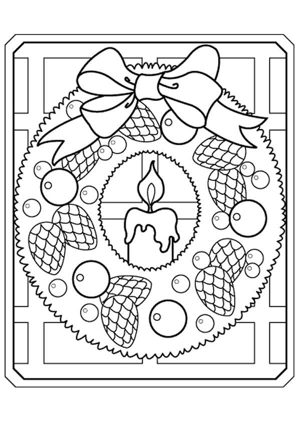Coloriage et dessins gratuits bougie couronne noel à imprimer