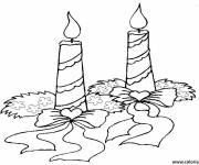 Coloriage et dessins gratuit bougie de Noël allumée à imprimer