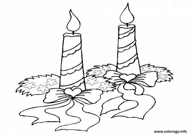 Coloriage et dessins gratuits bougie de Noël allumée à imprimer
