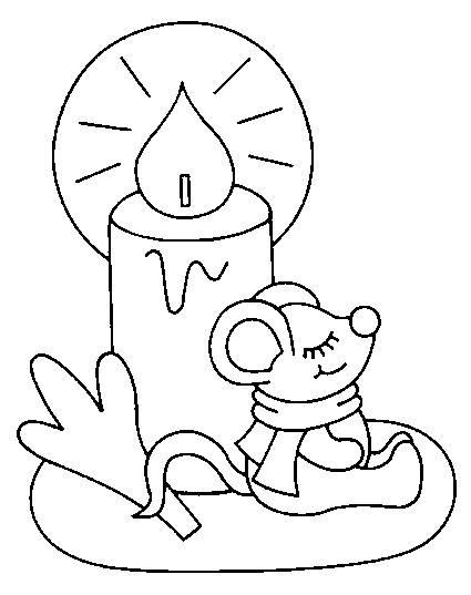 Coloriage et dessins gratuits bougie et souris à imprimer
