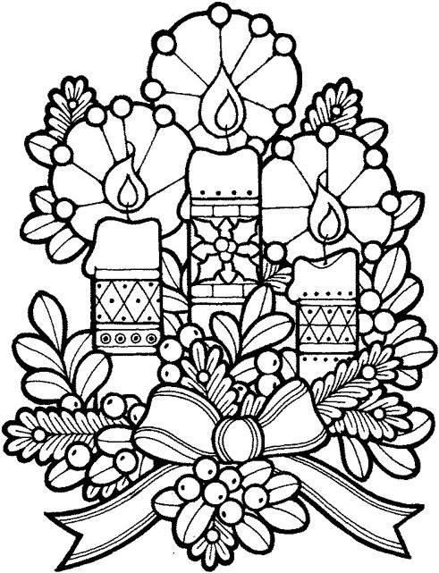 Coloriage et dessins gratuits Bougies de Noel à imprimer