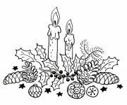 Coloriage et dessins gratuit Bougies décoratives de Noël à imprimer