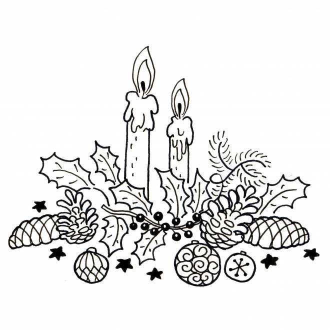 Coloriage et dessins gratuits Bougies décoratives de Noël à imprimer