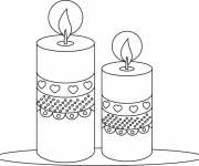 Coloriage et dessins gratuit bougies décorées de coeurs à imprimer
