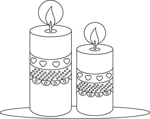 Coloriage et dessins gratuits bougies décorées de coeurs à imprimer