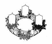 Coloriage et dessins gratuit couronne et cierges de Noël à imprimer