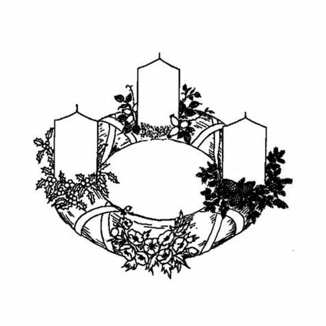 Coloriage et dessins gratuits couronne et cierges de Noël à imprimer