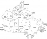 Coloriage et dessins gratuit Carte de Canada à imprimer