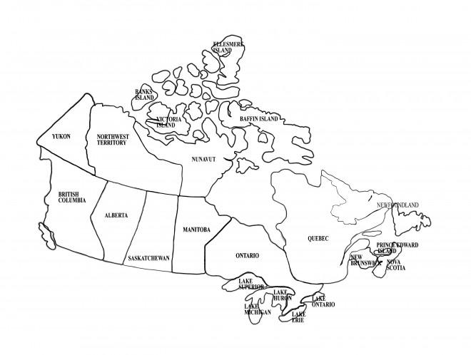 Coloriage et dessins gratuits Provinces Canada sur la carte à imprimer