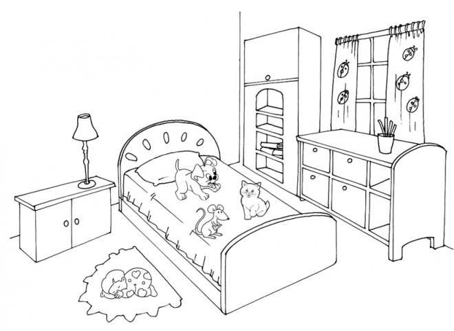 Coloriage Chambre à colorier dessin gratuit à imprimer