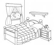 Coloriage Chambre à coucher