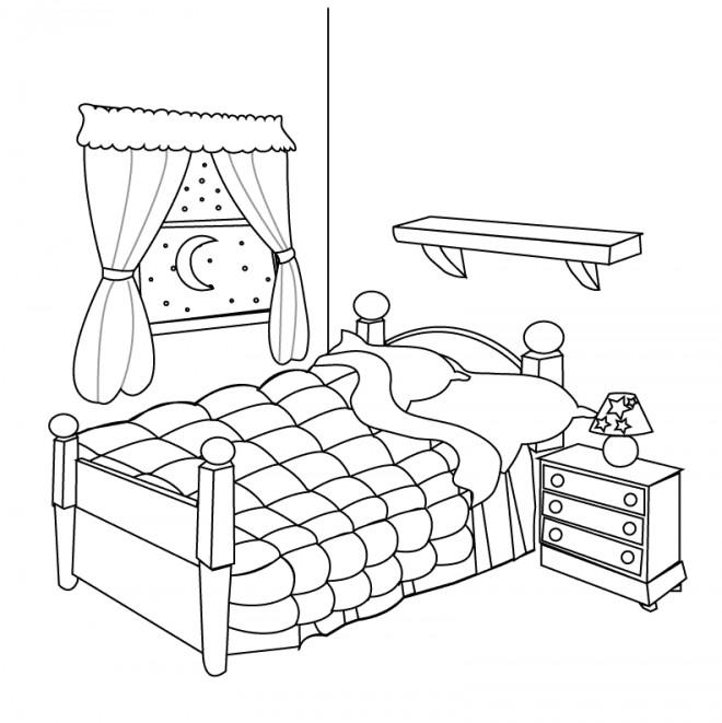 Coloriage Chambre à coucher dessin gratuit à imprimer