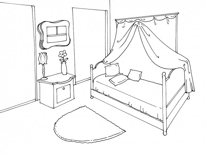 coloriage chambre bien organis e dessin gratuit imprimer. Black Bedroom Furniture Sets. Home Design Ideas
