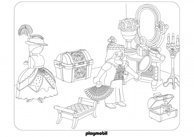 Coloriage et dessins gratuits Chambre de Fille et Les Jouets à imprimer