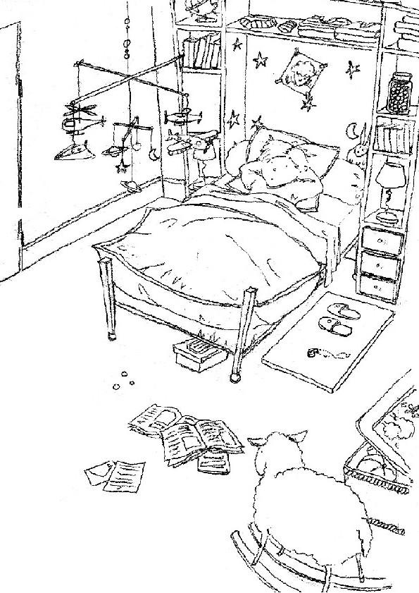 Coloriage et dessins gratuits Chambre de Garçon à télécharger à imprimer