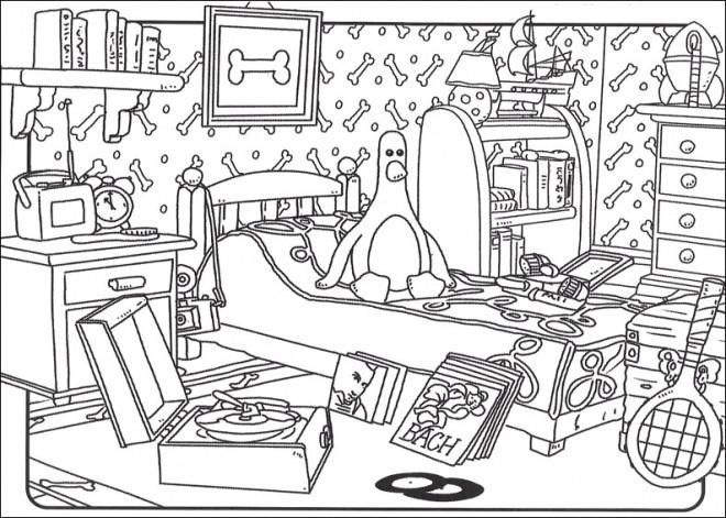 Coloriage Chambre de Pingouin dessin gratuit à imprimer