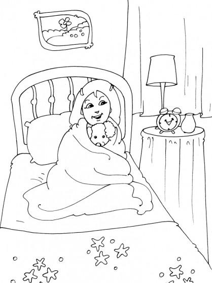 Coloriage et dessins gratuits Fille dans sa Chambre à coucher à imprimer