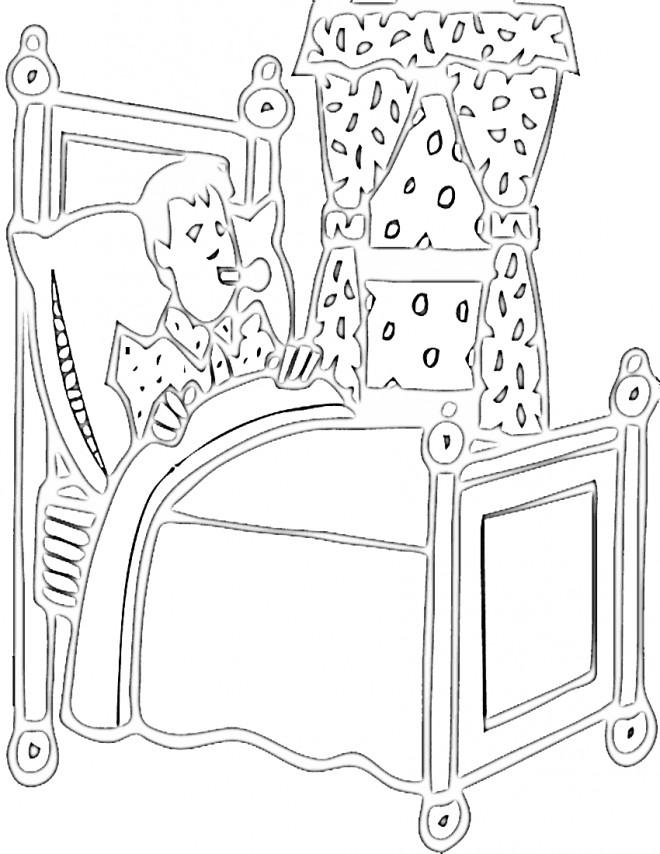 Coloriage et dessins gratuits Garçon malade à Chambre à imprimer