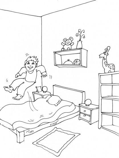 Coloriage et dessins gratuits L'Enfant amusé dans sa Chambre à imprimer