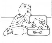 Coloriage L'ours joue dans sa Chambre