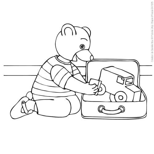 Coloriage et dessins gratuits L'ours joue dans sa Chambre à imprimer