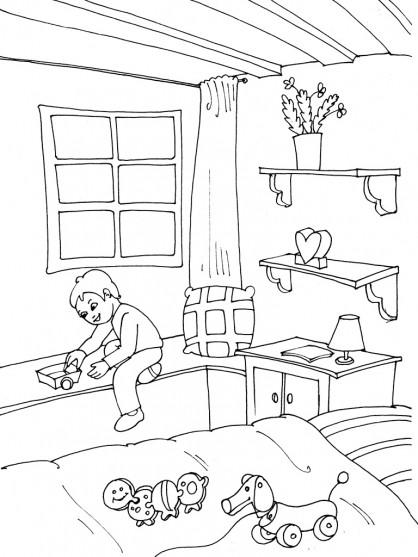 coloriage le gar on joue dans sa chambre dessin gratuit imprimer. Black Bedroom Furniture Sets. Home Design Ideas