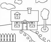 Coloriage Maison facile maternelle