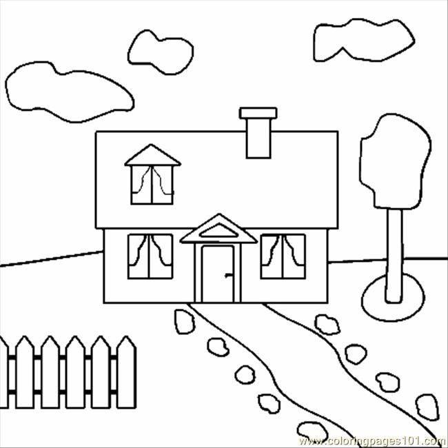 Coloriage Maison Facile Maternelle Dessin Gratuit à Imprimer