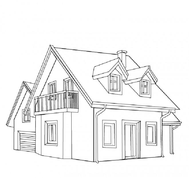 Coloriage et dessins gratuits Maison vue de face à imprimer