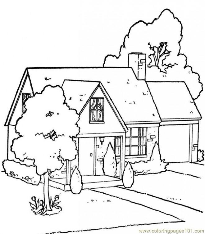 Coloriage et dessins gratuits Une Maison en bois à imprimer