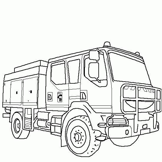 Coloriage et dessins gratuits Camion de pompier de l'armée à imprimer