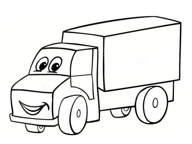 Coloriage et dessins gratuits Camion remorque souriante à imprimer