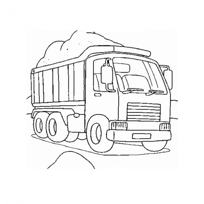 Coloriage Camion Transporte Le Sable Dessin Gratuit à Imprimer