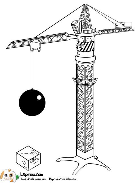 Coloriage et dessins gratuits Chantier Boule de démolition à imprimer