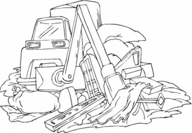 Coloriage et dessins gratuits Chantier en noir et blanc à imprimer